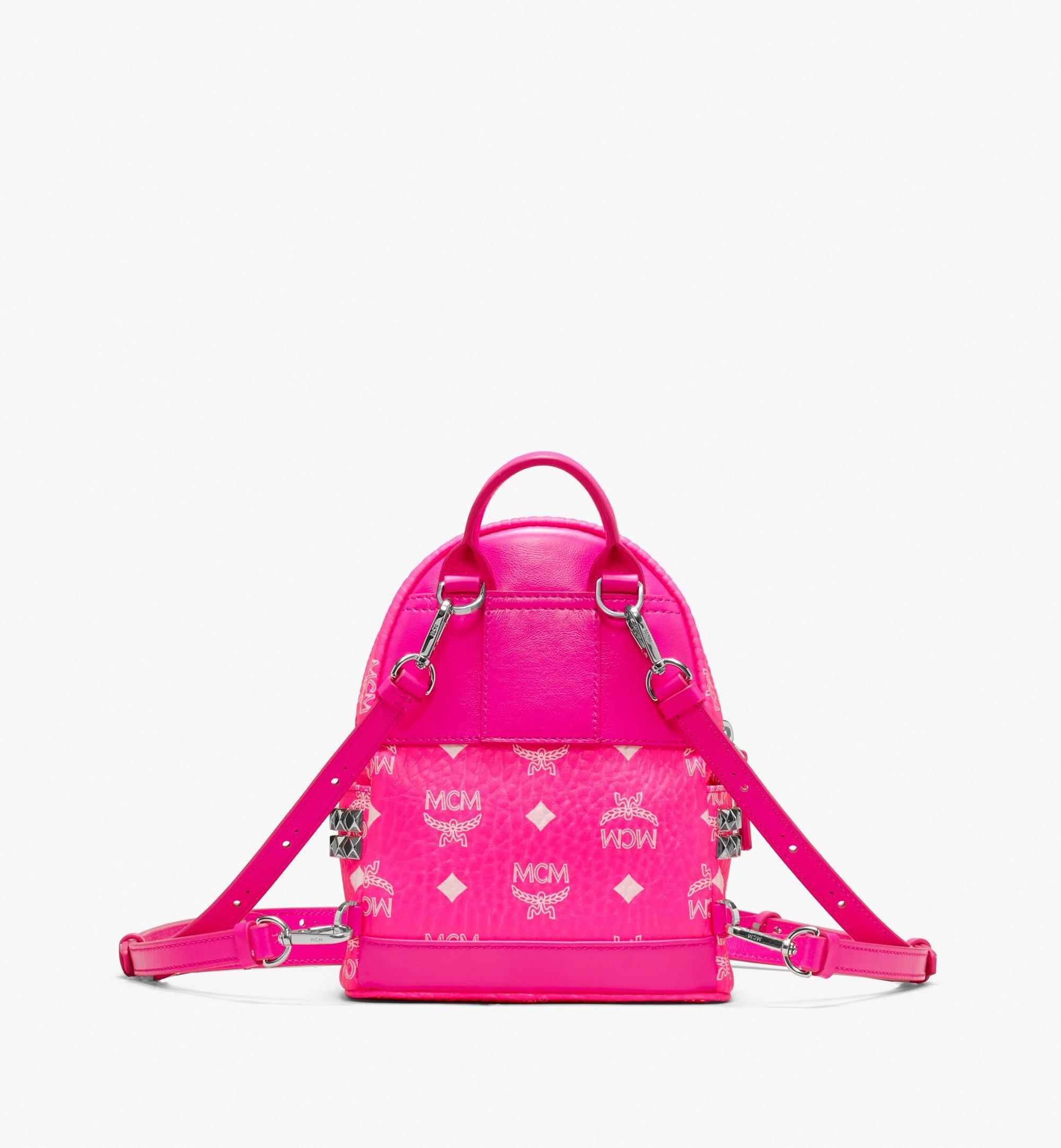 20 cm 8 in Stark Backpack in Neon Visetos Neon Pink | MCM® DE
