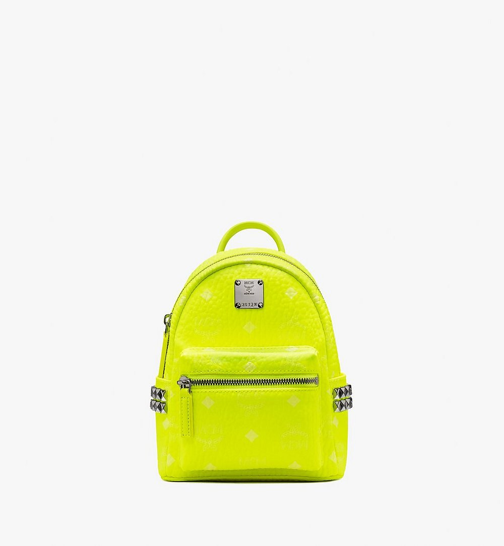 MCM Stark Bebe Boo Backpack in Neon Visetos Yellow MMK9AVE66YN001 Alternate View 1