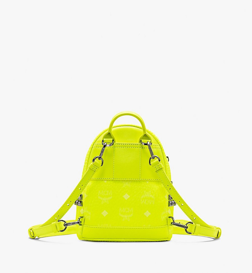 MCM Stark Bebe Boo Backpack in Neon Visetos Yellow MMK9AVE66YN001 Alternate View 2
