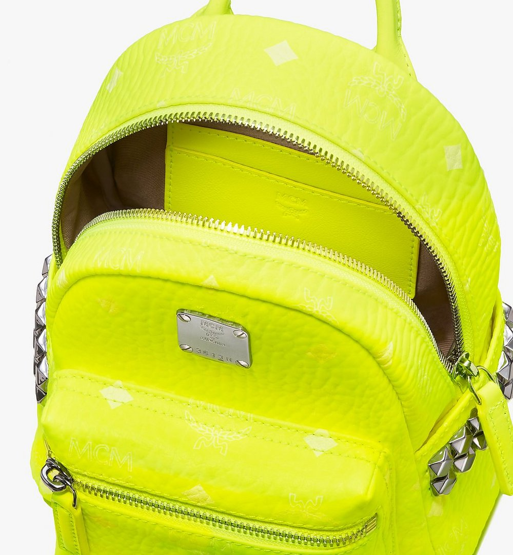 MCM Stark Bebe Boo Backpack in Neon Visetos Yellow MMK9AVE66YN001 Alternate View 3