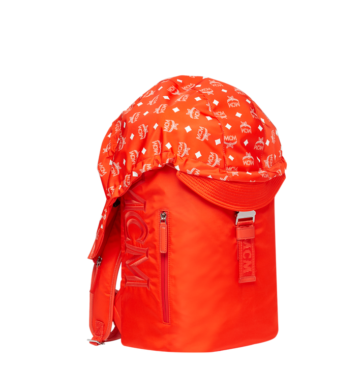 MCM Luft Hoodie Backpack in Nylon Orange MMK9SNX34OX001 Alternate View 2