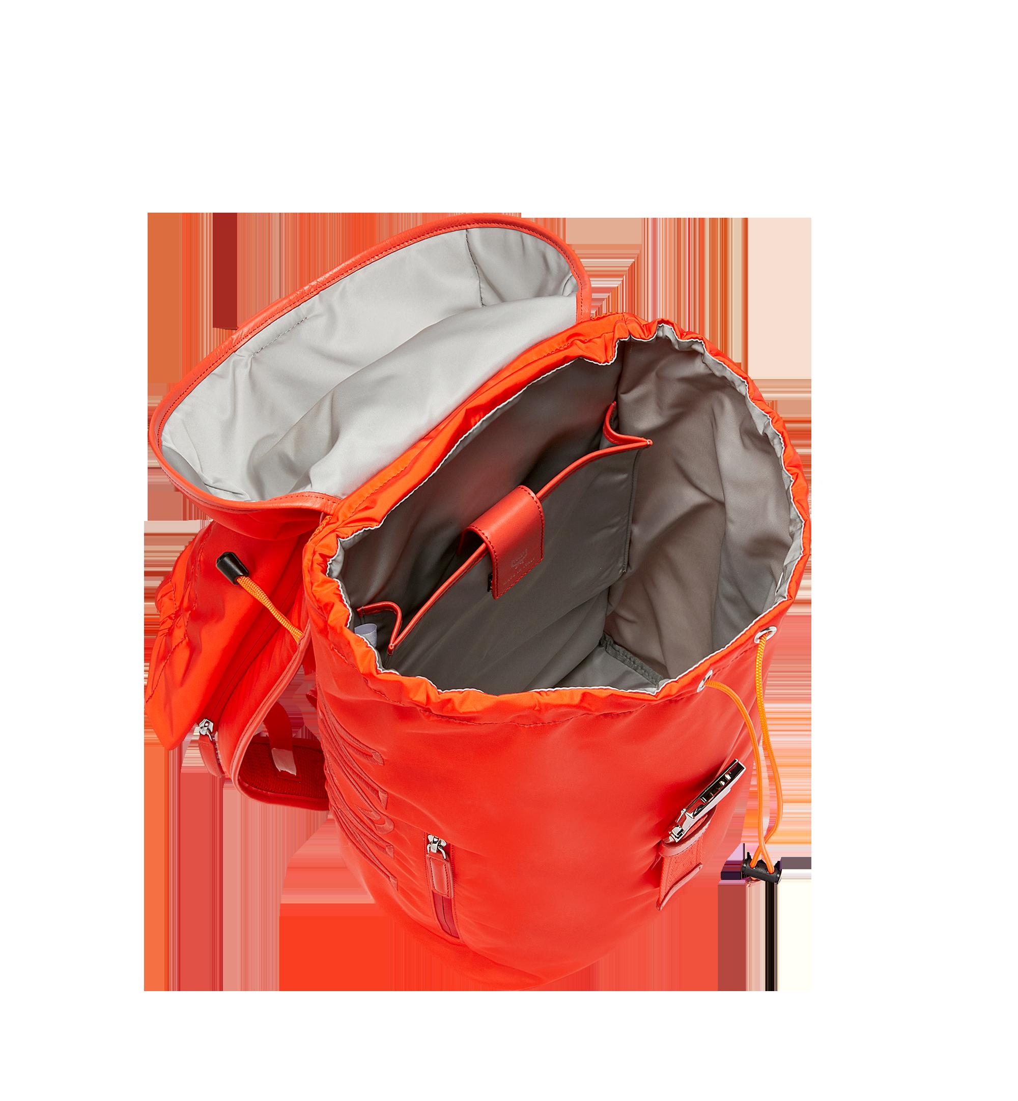 MCM Luft Hoodie Backpack in Nylon Orange MMK9SNX34OX001 Alternate View 6