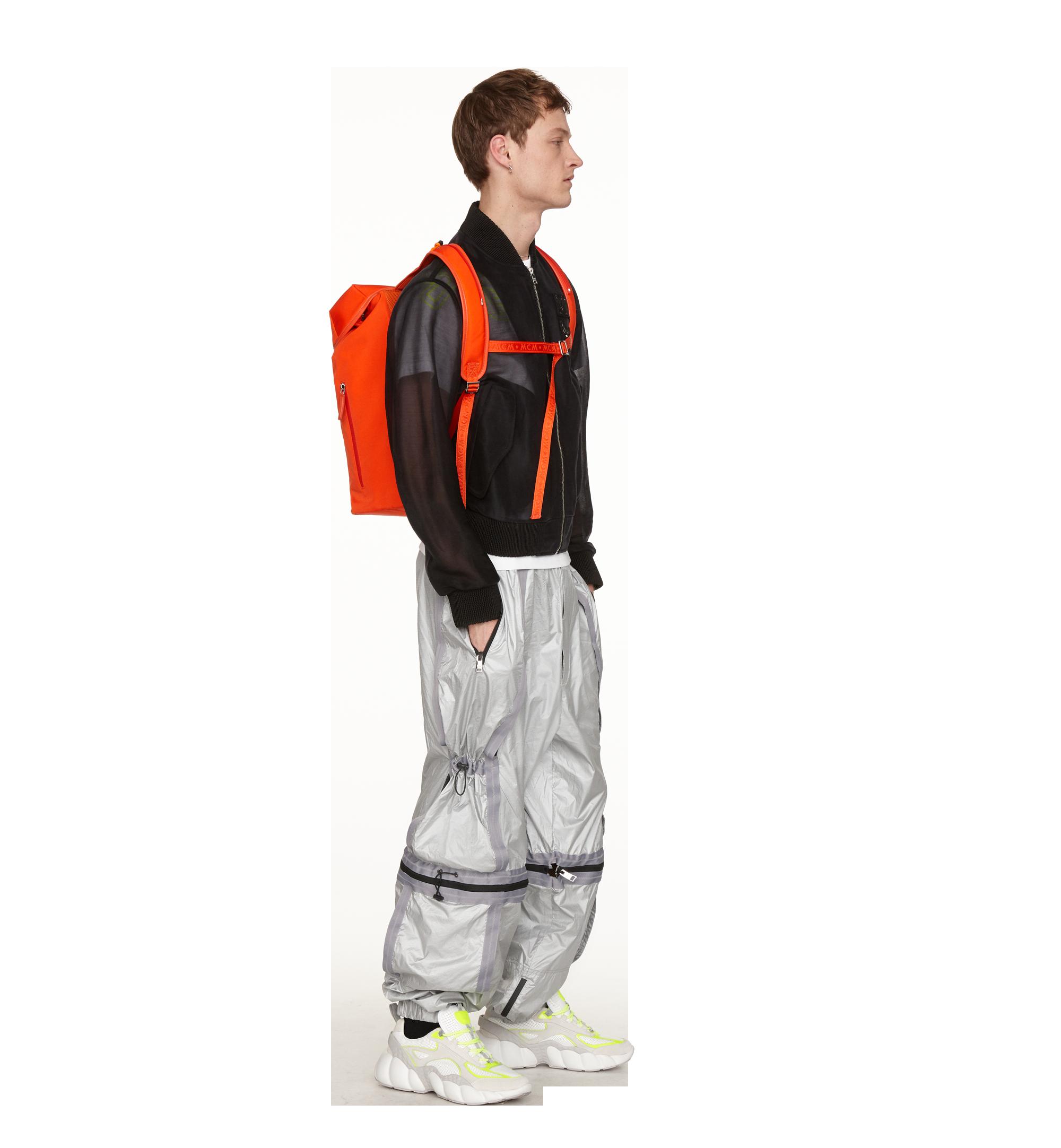 MCM Luft Hoodie Backpack in Nylon Orange MMK9SNX34OX001 Alternate View 8