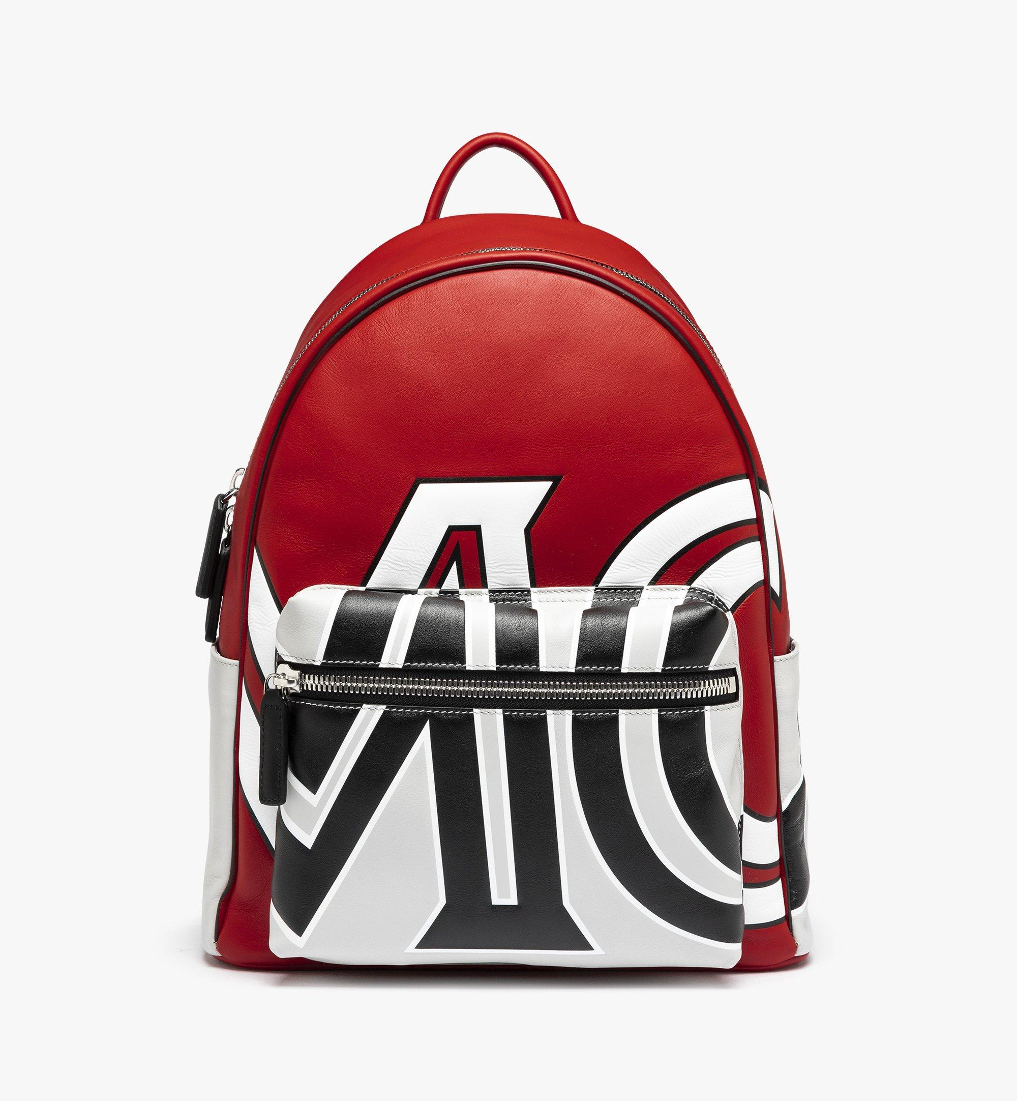 MCM Stark Backpack in Contrast Logo Leather Red MMK9SVE12RU001 Alternate View 1