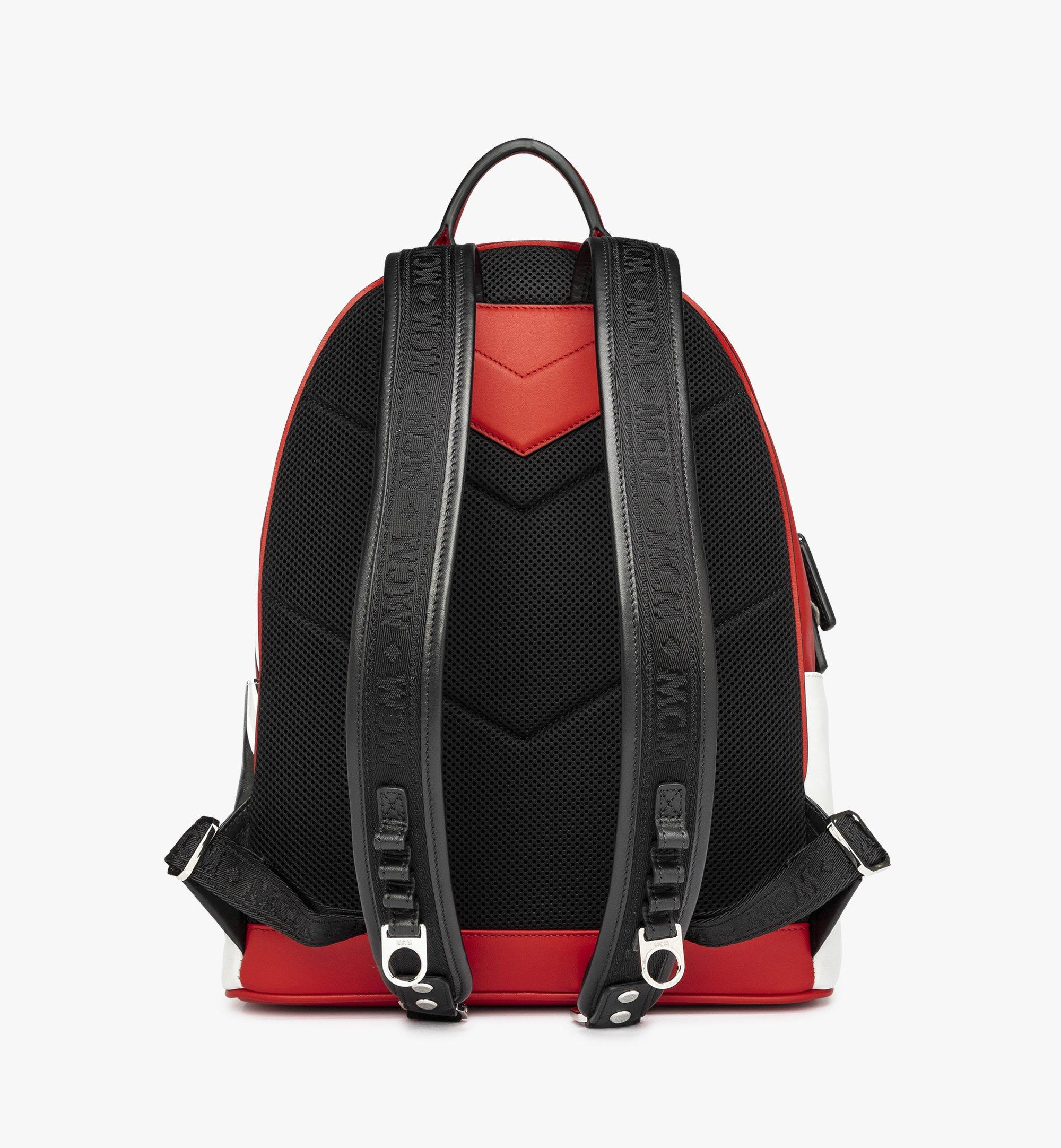 MCM Stark Backpack in Contrast Logo Leather Red MMK9SVE12RU001 Alternate View 3