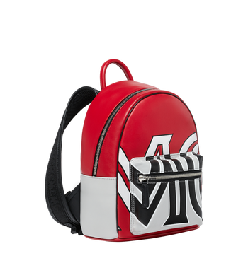 MCM Stark Backpack in Contrast Logo Leather Alternate View 2