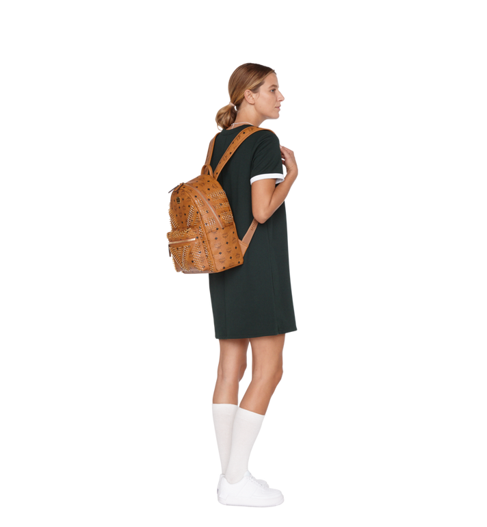 MCM Stark Backpack in Graded M Studs Visetos Cognac MMK9SVE20CO001 Alternate View 6