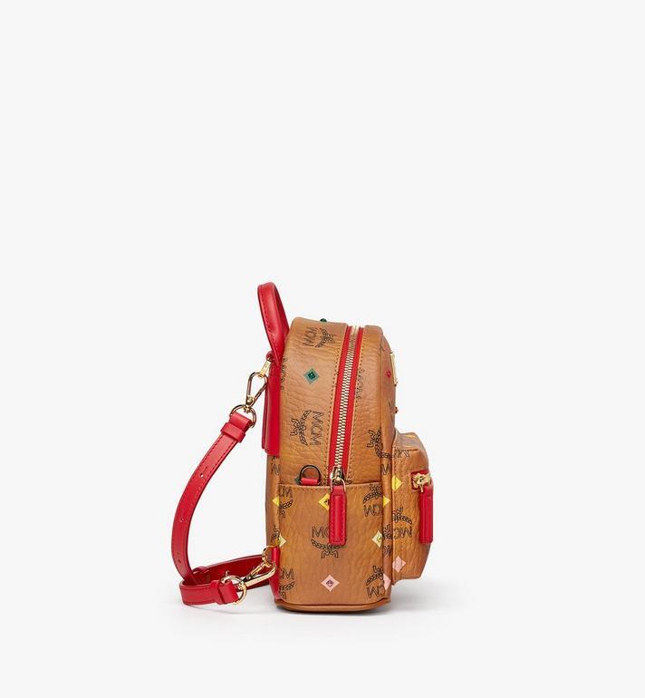 MCM Stark Bebe Boo Backpack in Skyoptic Stud Visetos Cognac MMK9SVE36CA001 Alternate View 2