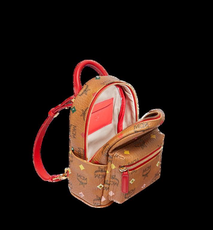 MCM Stark Bebe Boo Backpack in Skyoptic Stud Visetos Cognac MMK9SVE36CA001 Alternate View 7