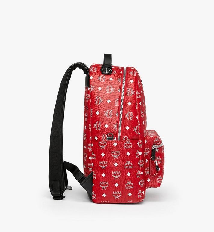 MCM Stark Backpack in White Logo Visetos Red MMK9SVE48AV001 Alternate View 2