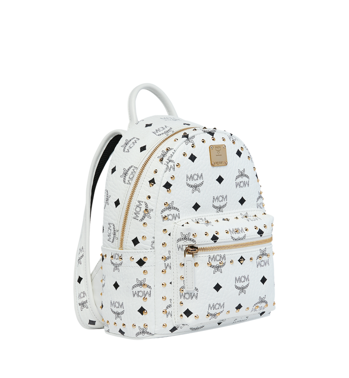 MCM Stark Backpack in Studded Outline Visetos White MMK9SVE62WT001 Alternate View 2