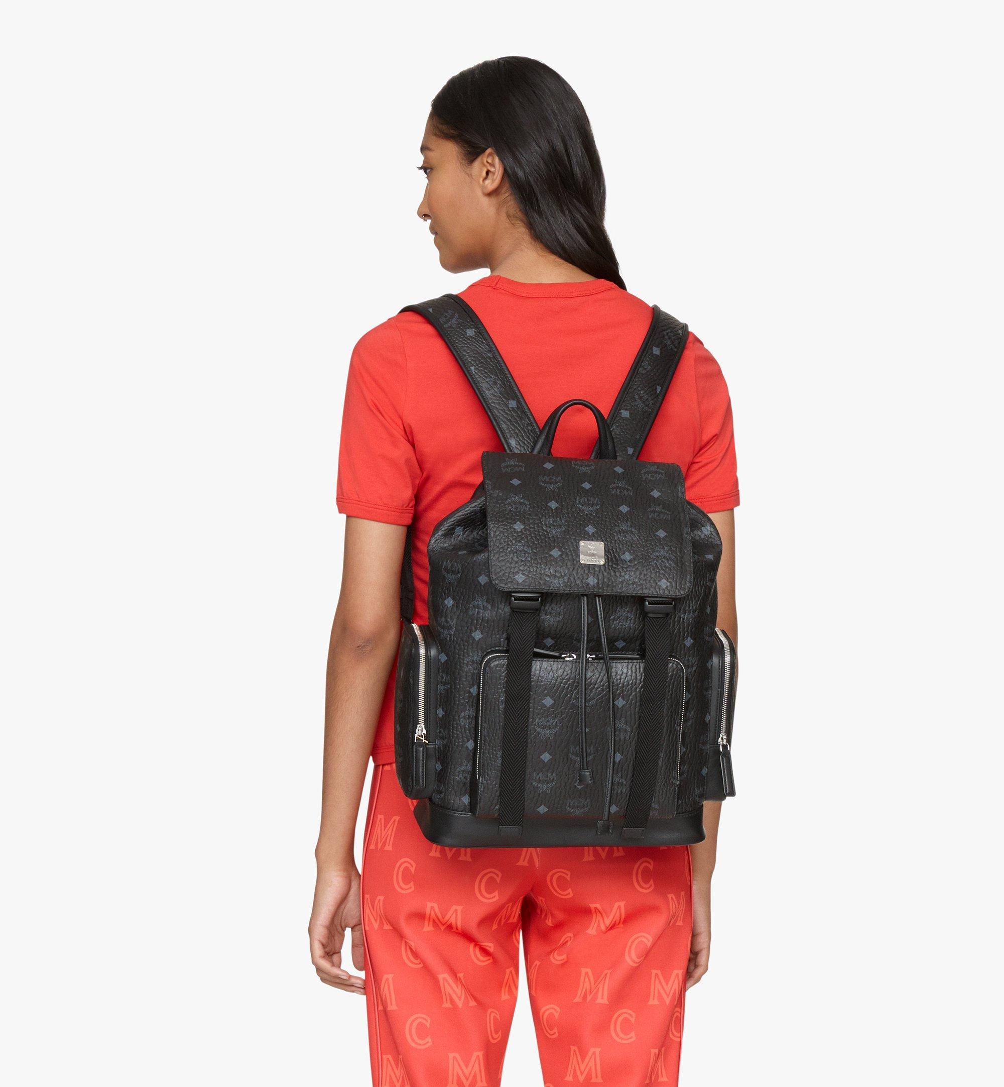 MCM Brandenburg Backpack in Visetos Black MMKAABG02BK001 Alternate View 4