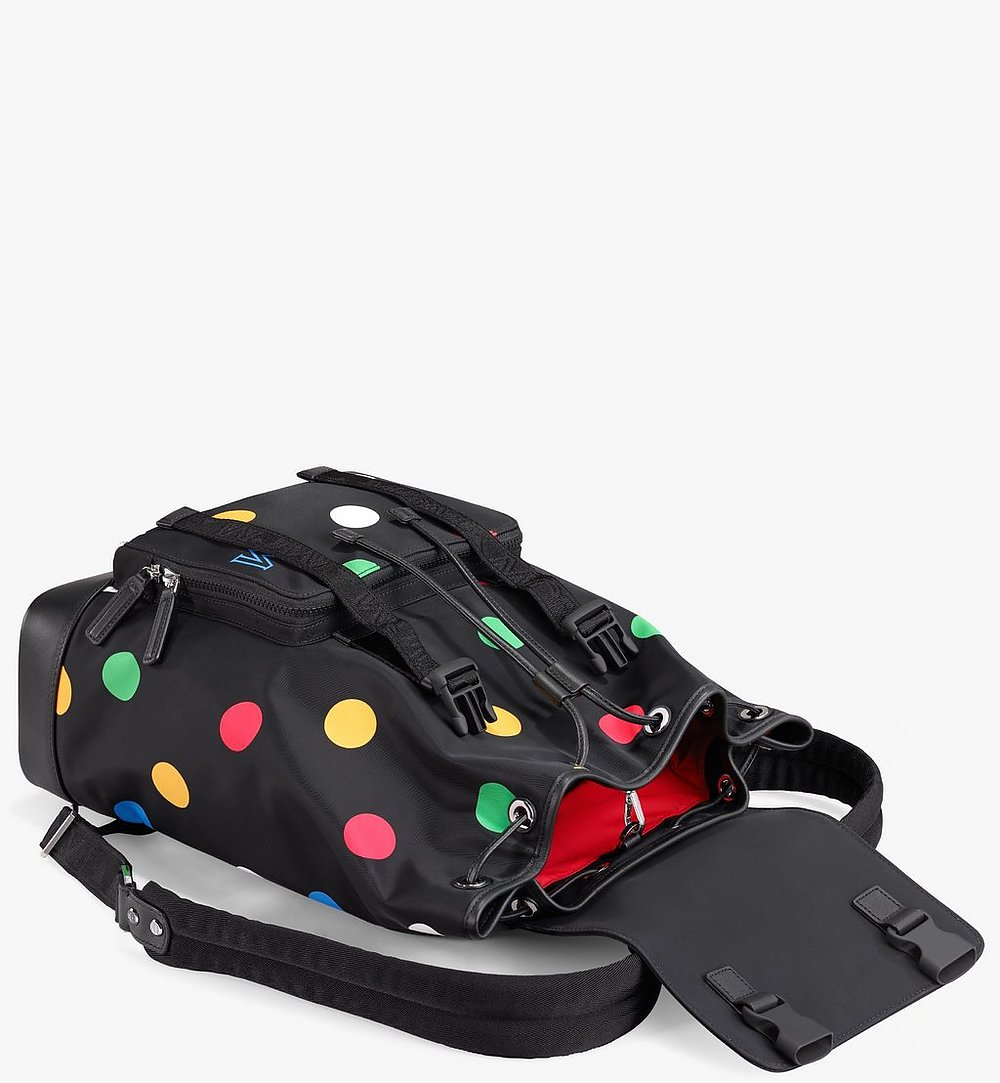 MCM Brandenburg Backpack in Polka Dot Nylon Black MMKAABG03BK001 Alternate View 2
