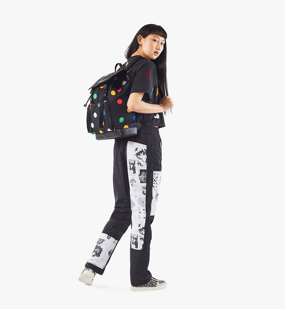 MCM Brandenburg Backpack in Polka Dot Nylon Black MMKAABG03BK001 Alternate View 4