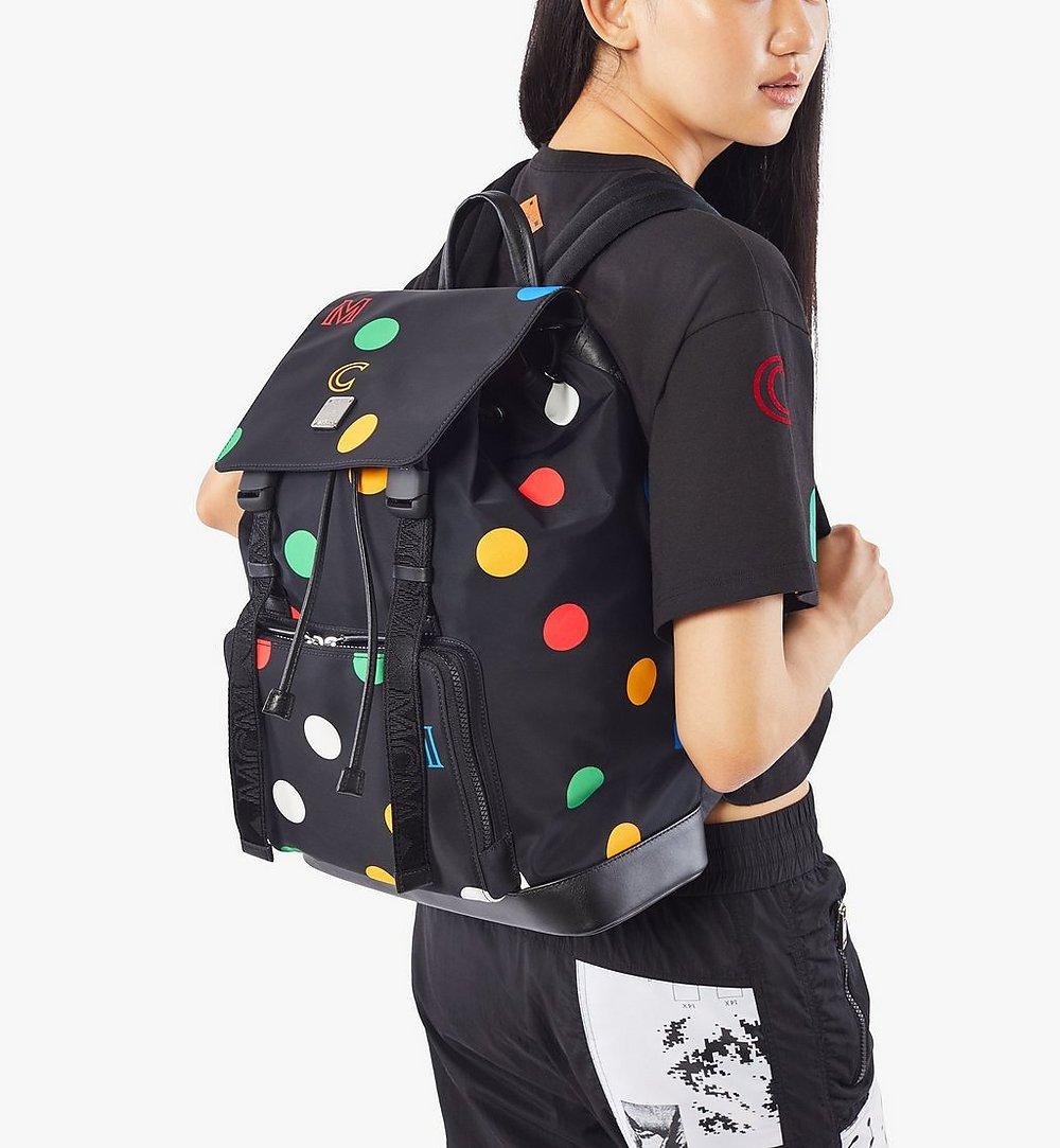 MCM Brandenburg Backpack in Polka Dot Nylon Black MMKAABG03BK001 Alternate View 6