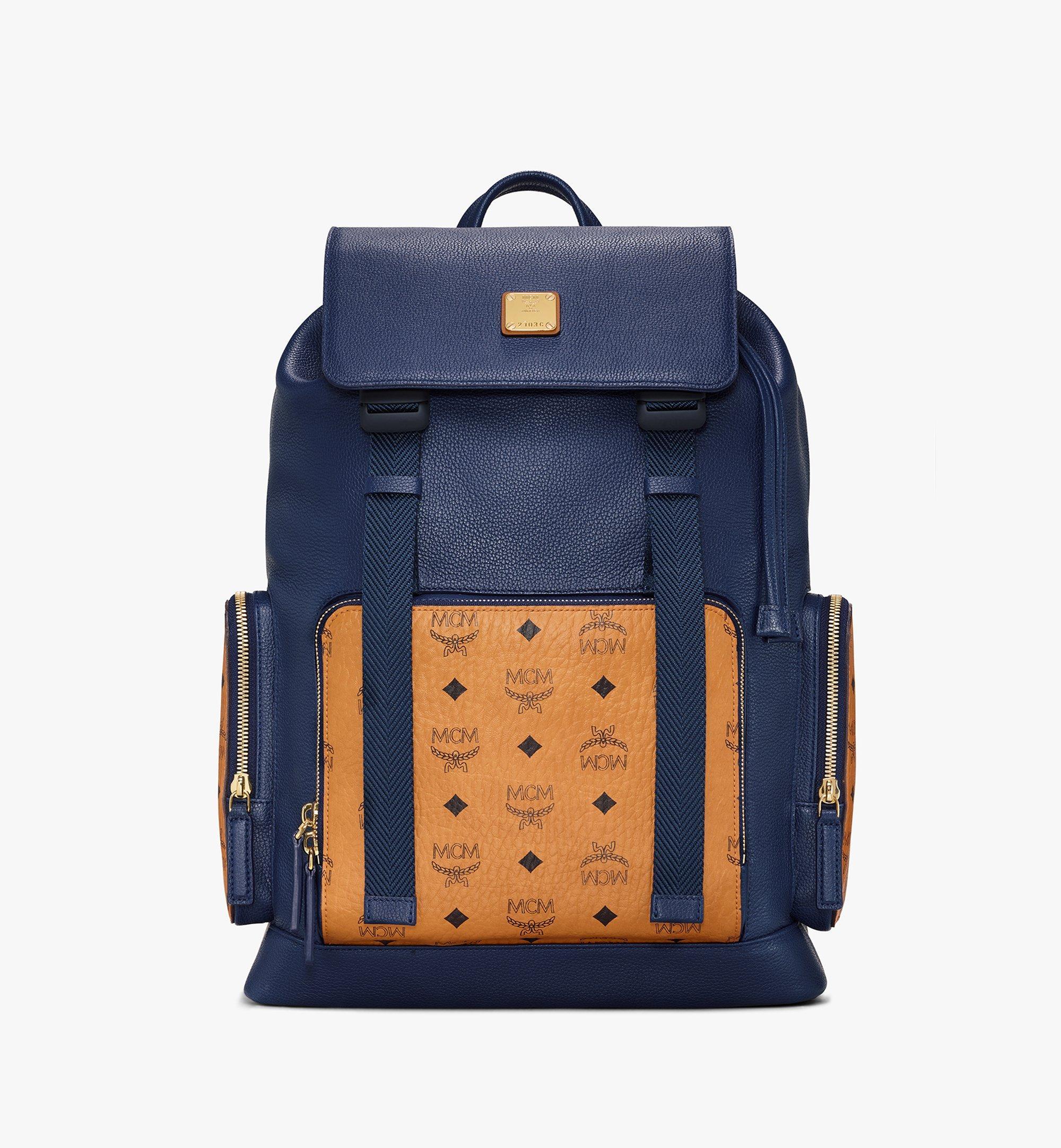 MCM Brandenburg Backpack in Visetos Leather Block Blue MMKAABG05VU001 Alternate View 1