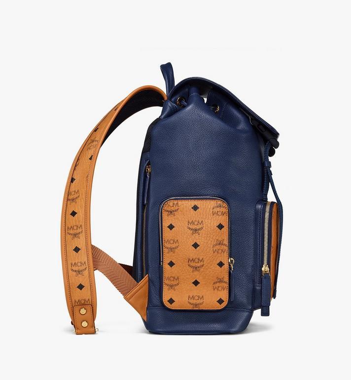 MCM Brandenburg Backpack in Visetos Leather Block Blue MMKAABG05VU001 Alternate View 2