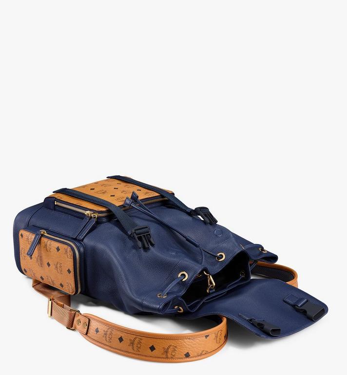 MCM Brandenburg Backpack in Visetos Leather Block Blue MMKAABG05VU001 Alternate View 3