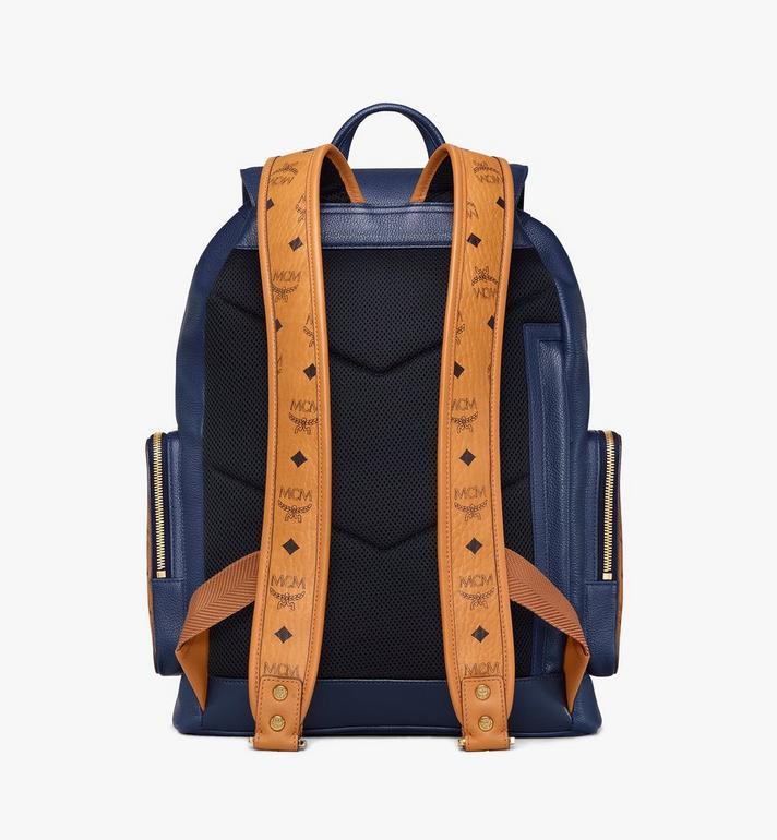 MCM Brandenburg Backpack in Visetos Leather Block Blue MMKAABG05VU001 Alternate View 4
