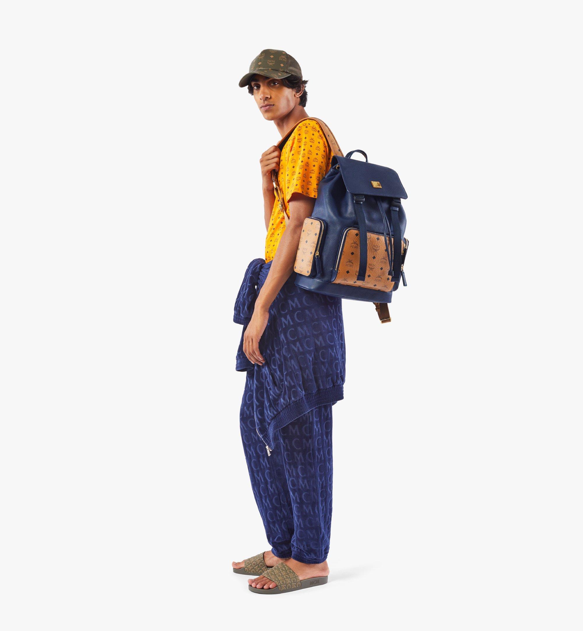 MCM Brandenburg Backpack in Visetos Leather Block Blue MMKAABG05VU001 Alternate View 6