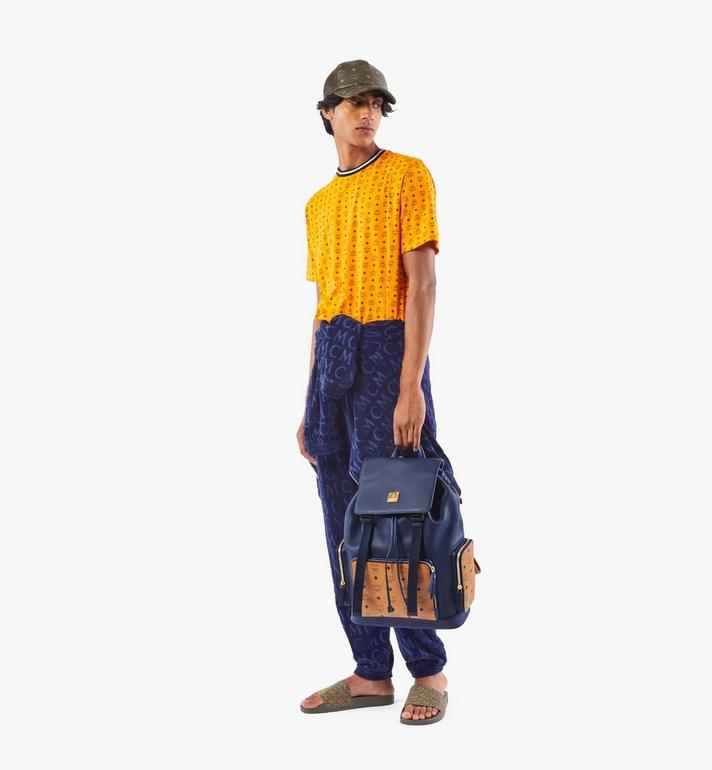 MCM Brandenburg Backpack in Visetos Leather Block Blue MMKAABG05VU001 Alternate View 7