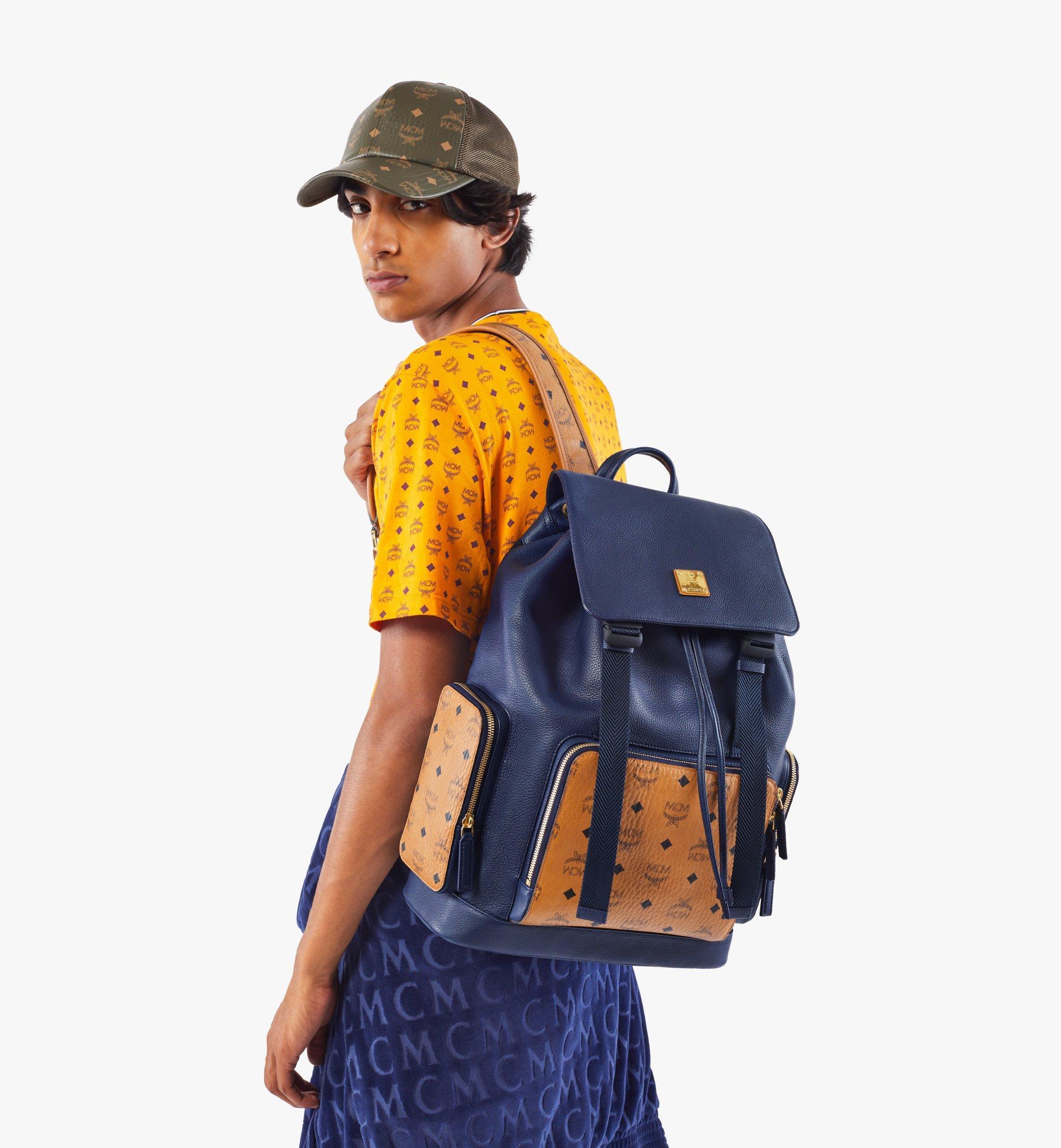 MCM Brandenburg Backpack in Visetos Leather Block Blue MMKAABG05VU001 Alternate View 8