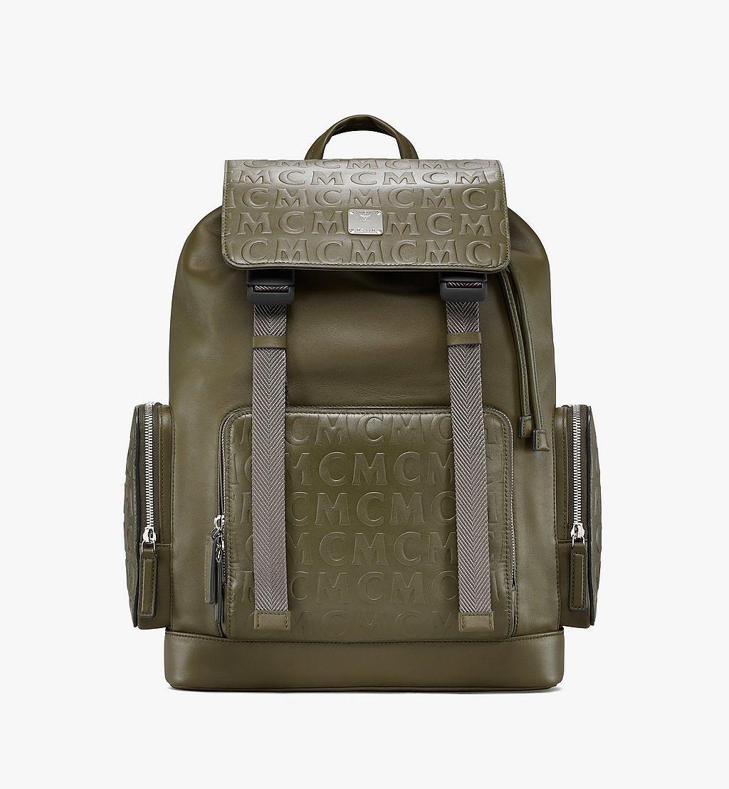 MCM Brandenburg Rucksack aus Leder mit MCM-Monogramm Green MMKAABG06JH001 Noch mehr sehen 1