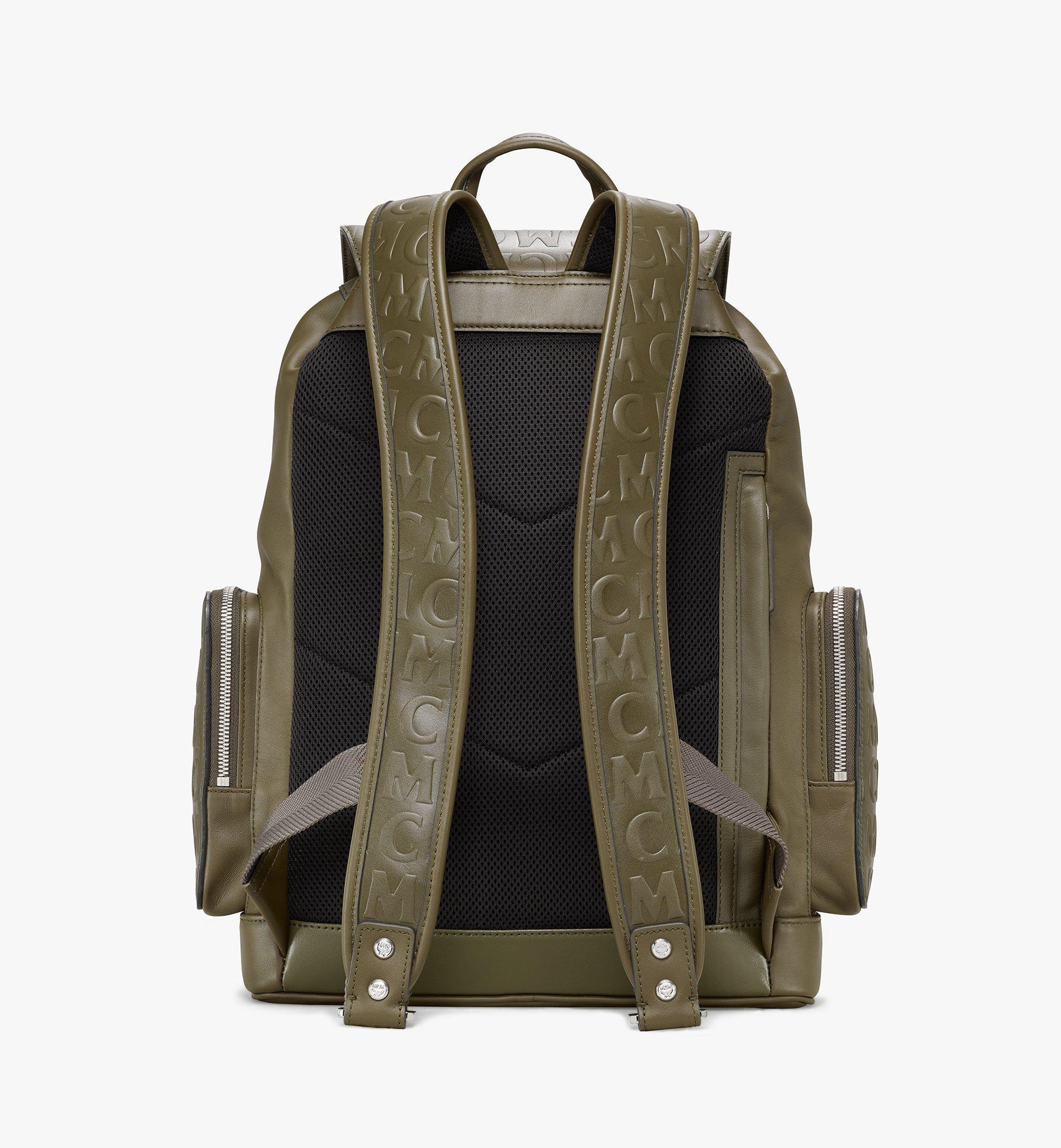 MCM Brandenburg Backpack in MCM Monogram Leather Green MMKAABG06JH001 Alternate View 3