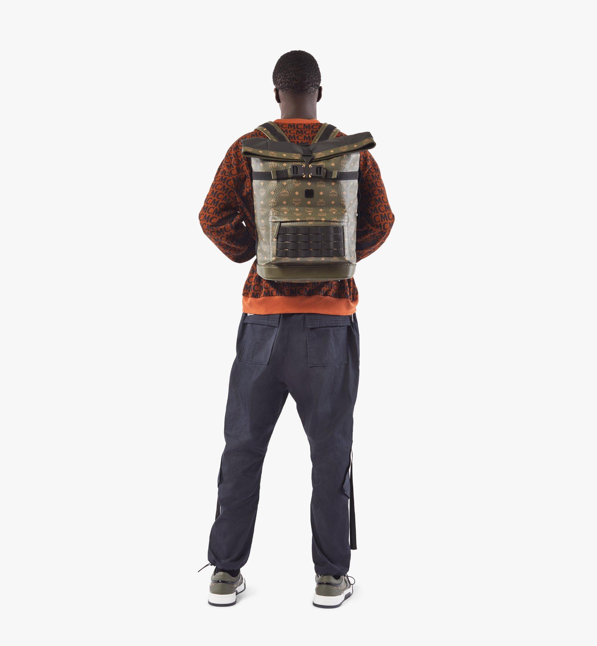 MCM Roll-Top Backpack in Visetos Green MMKAAMV01JH001 Alternate View 5