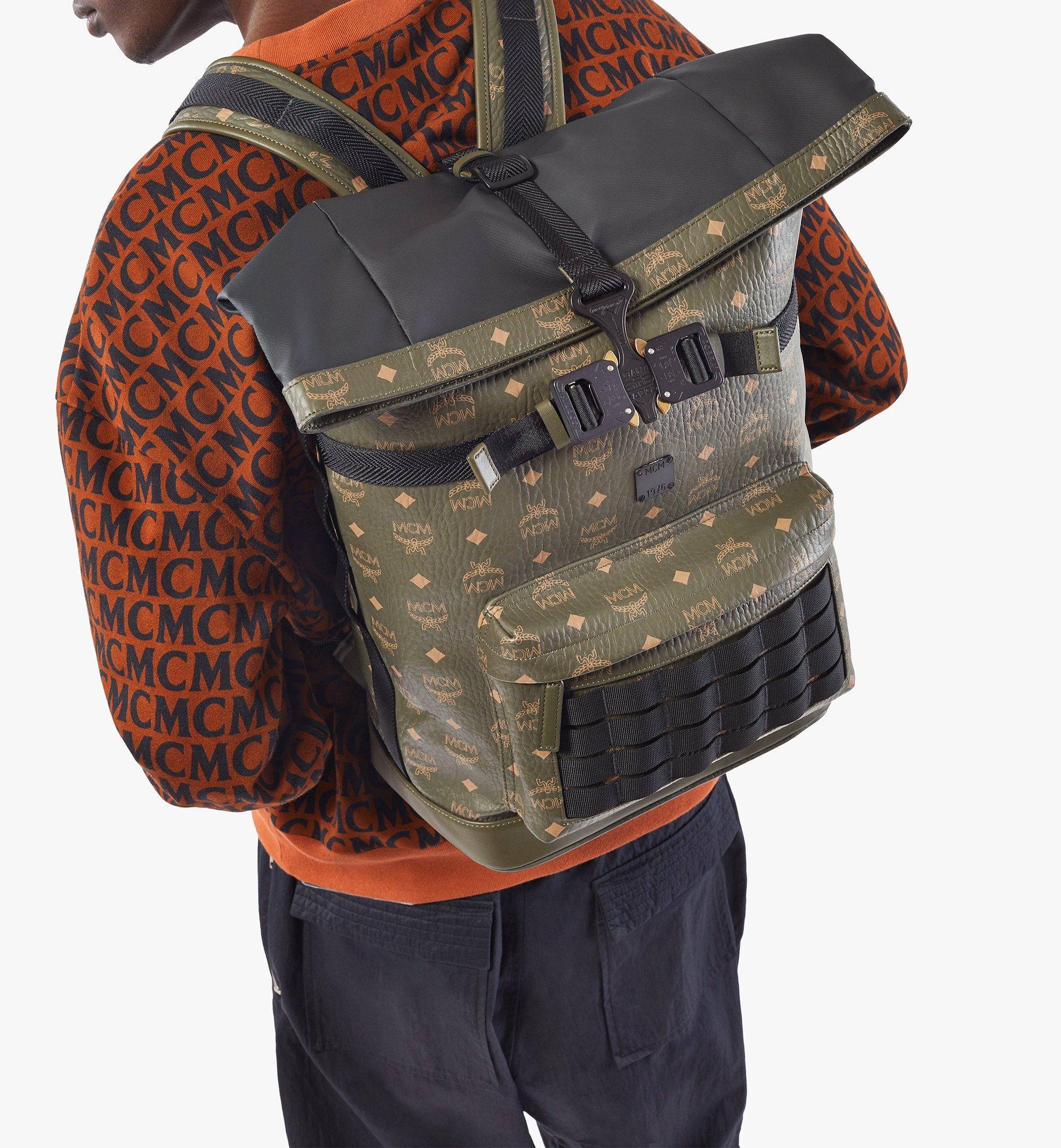 MCM Roll-Top Backpack in Visetos Green MMKAAMV01JH001 Alternate View 6