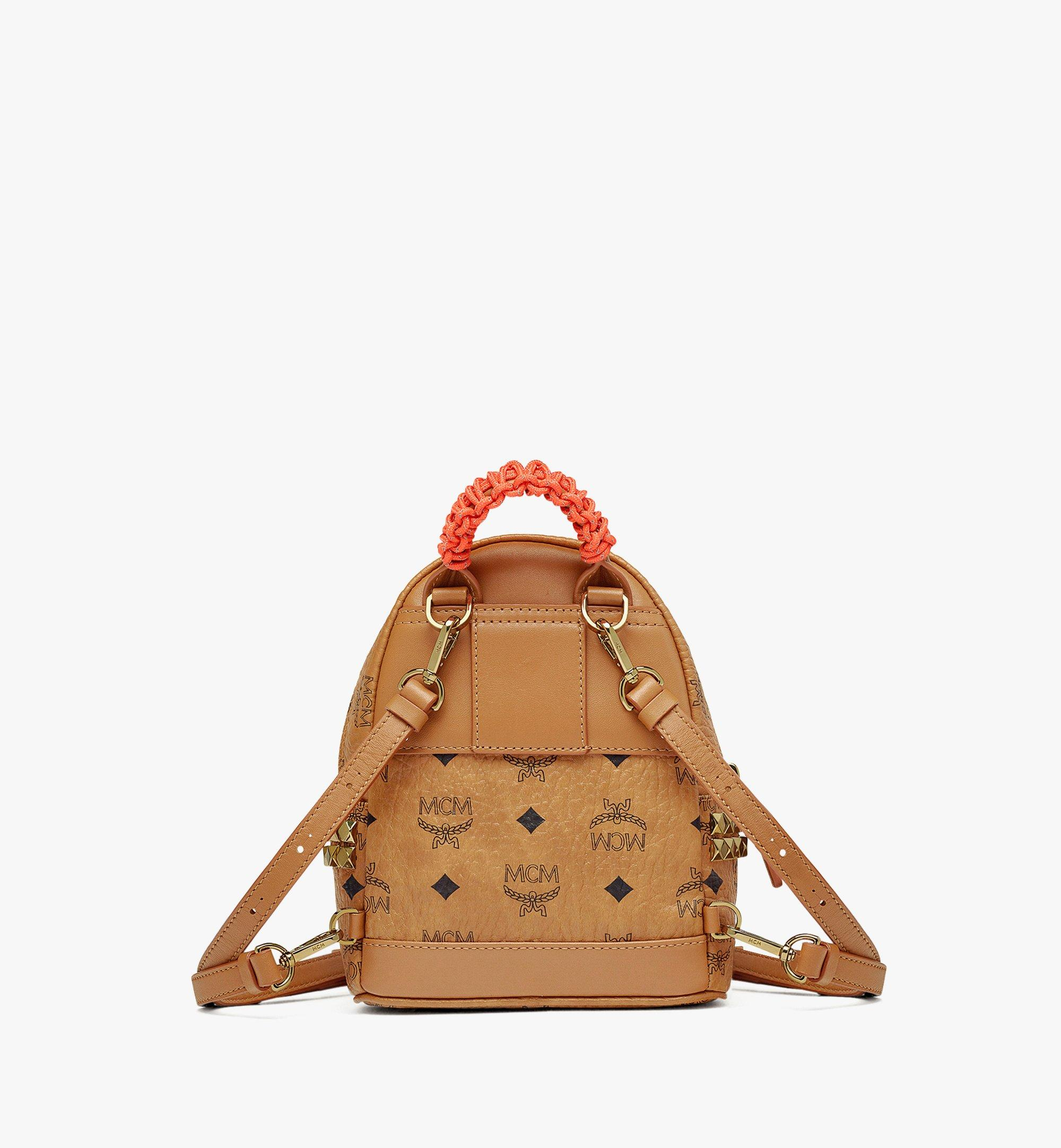 MCM Upcycling Project Stark Bebe Boo Backpack in Visetos Cognac MMKAAUP01CO001 Alternate View 3