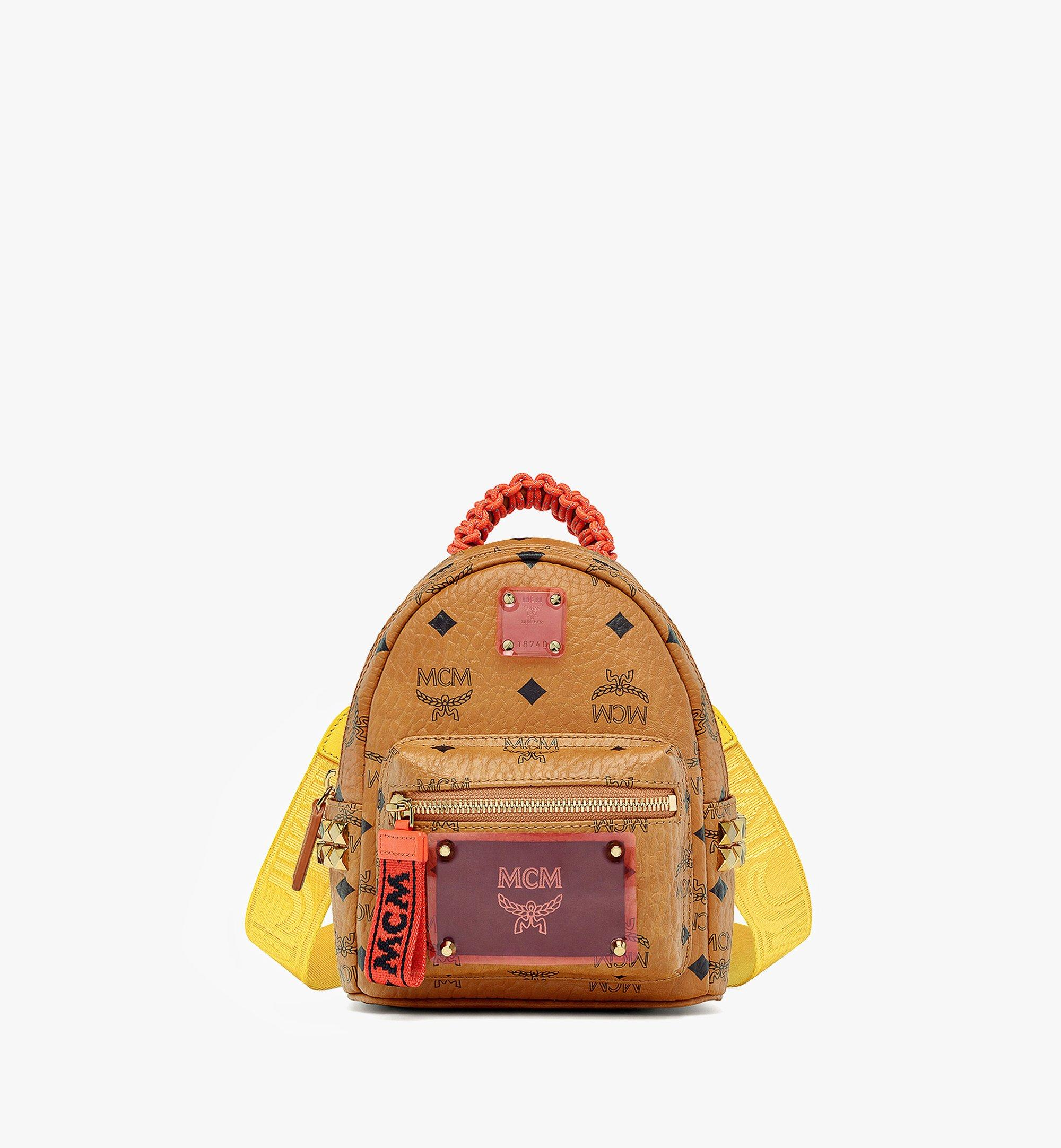 MCM Upcycling Project Stark Bebe Boo Backpack in Visetos Cognac MMKAAUP01CO001 Alternate View 4