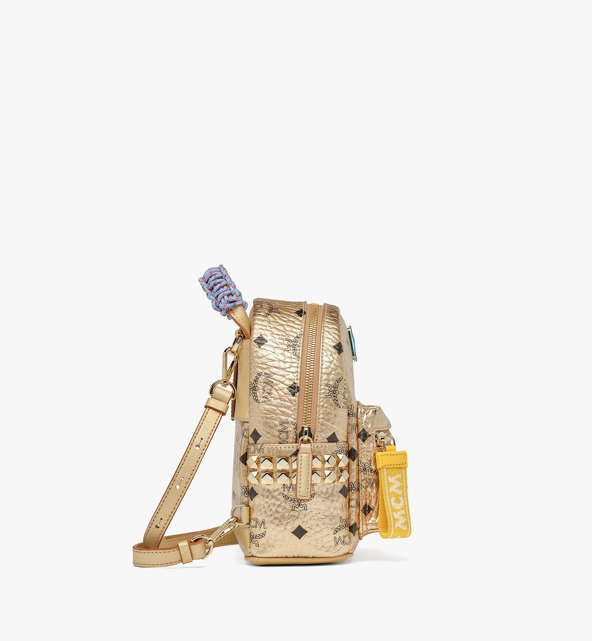 MCM Upcycling Project Stark Bebe Boo Backpack in Visetos Gold MMKAAUP02T1001 Alternate View 1