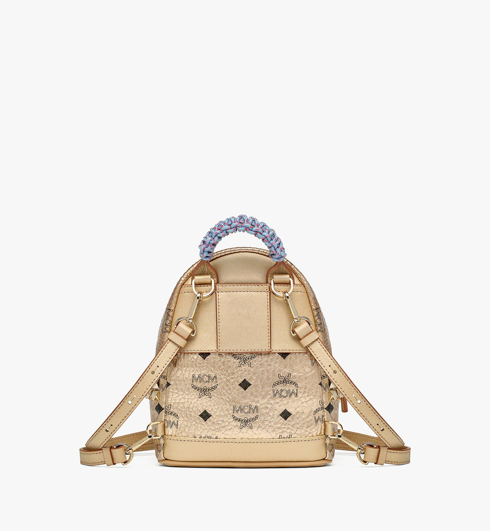 MCM Upcycling Project Stark Bebe Boo Backpack in Visetos Gold MMKAAUP02T1001 Alternate View 3