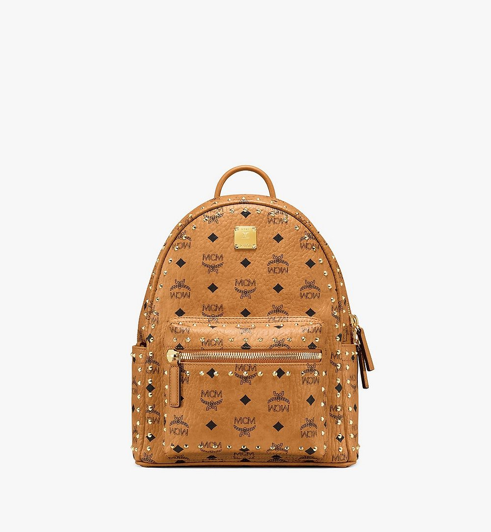 MCM Stark Backpack in Studded Outline Visetos Cognac MMKAAVE01CO001 Alternate View 1