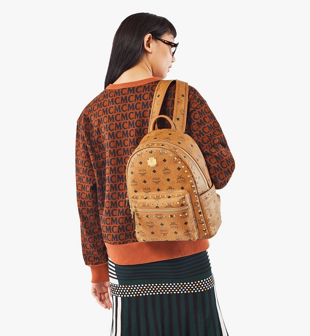 MCM Stark Backpack in Studded Outline Visetos Cognac MMKAAVE01CO001 Alternate View 5