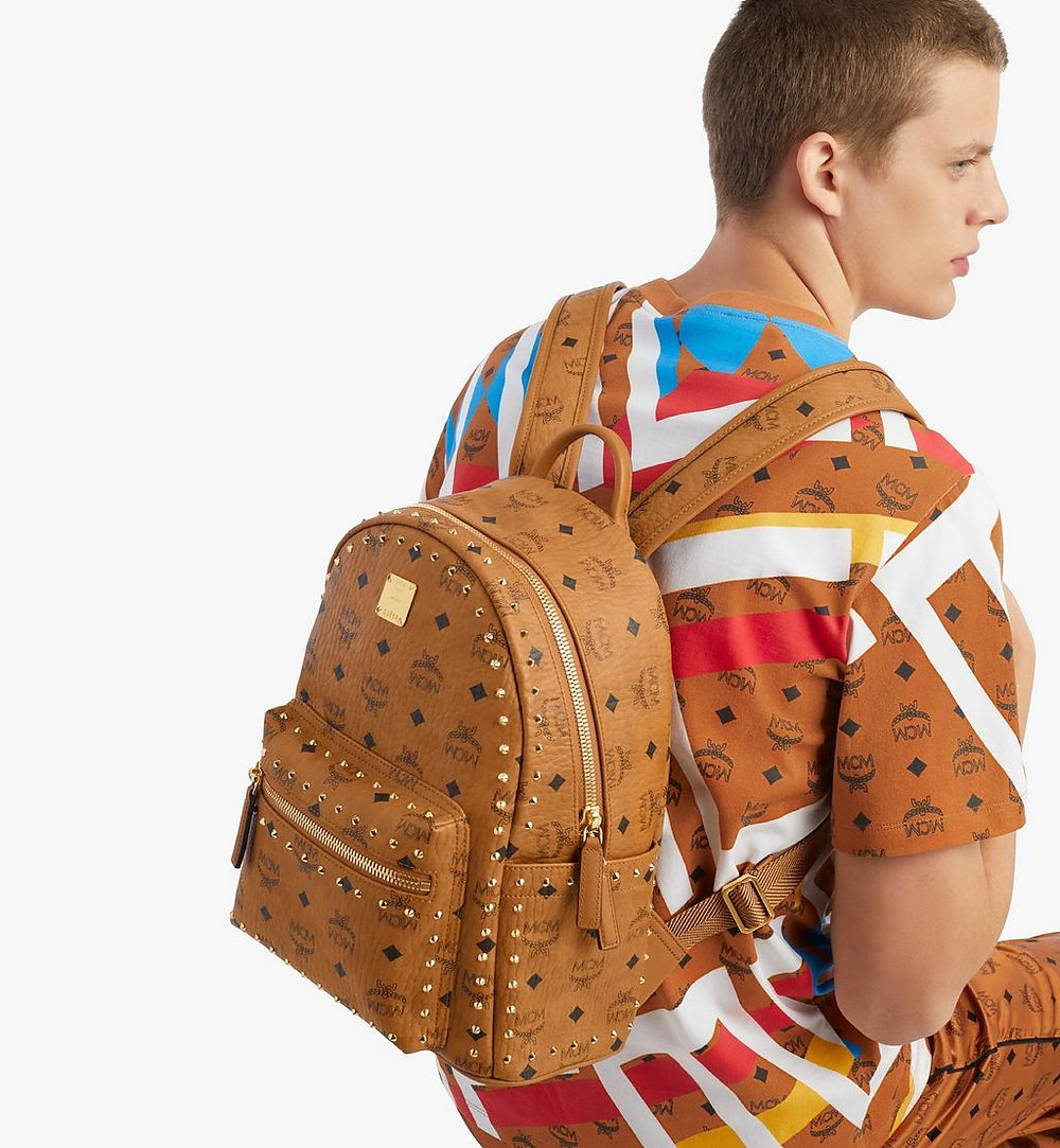 MCM Stark Backpack in Studded Outline Visetos Cognac MMKAAVE01CO001 Alternate View 2