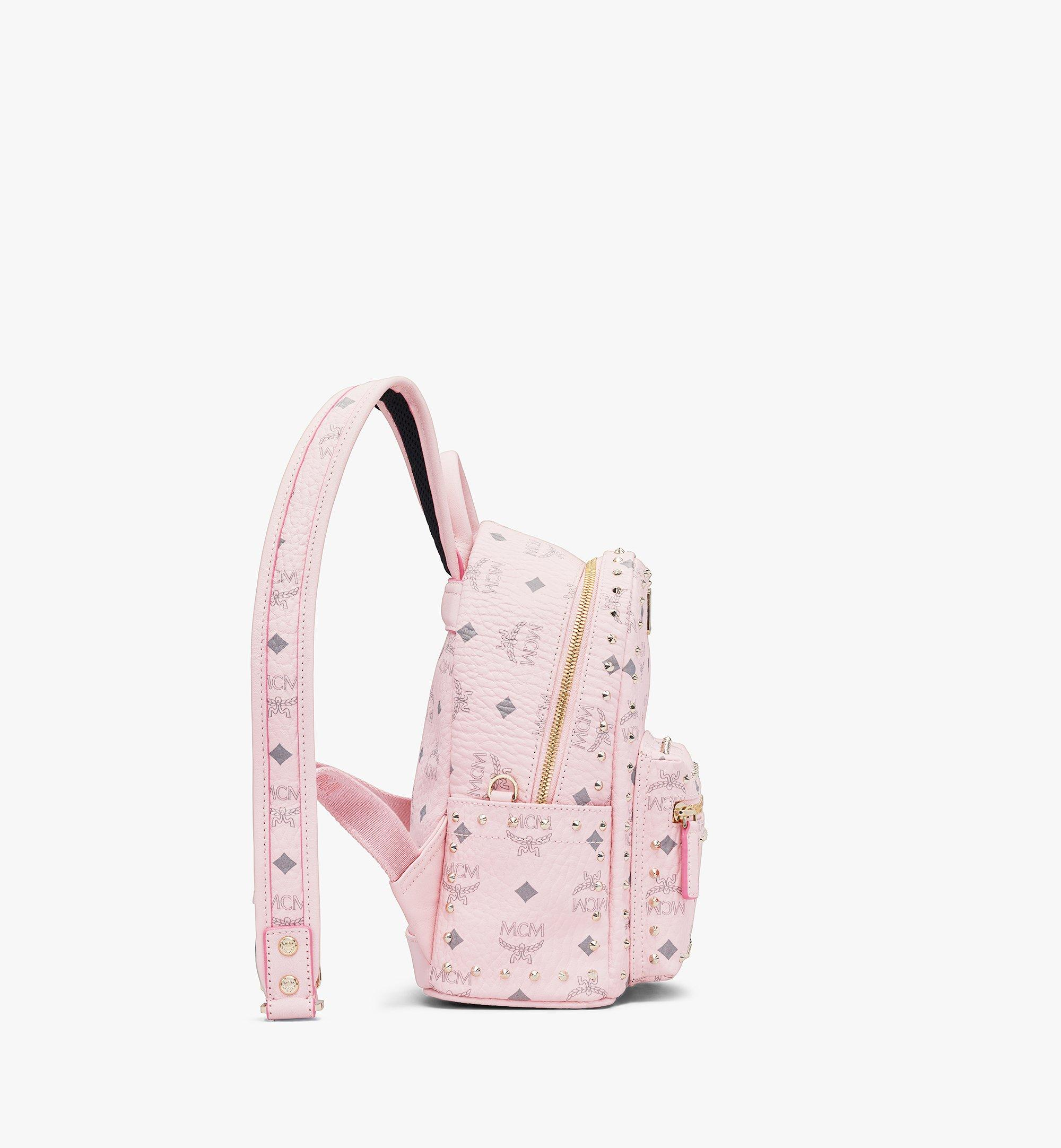 MCM Stark Backpack in Studded Outline Visetos Pink MMKAAVE03QH001 Alternate View 1