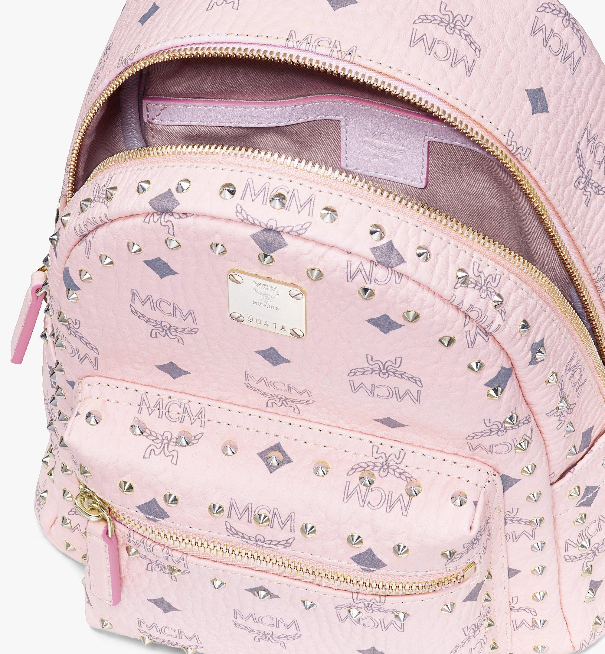 MCM Stark Backpack in Studded Outline Visetos Pink MMKAAVE03QH001 Alternate View 3