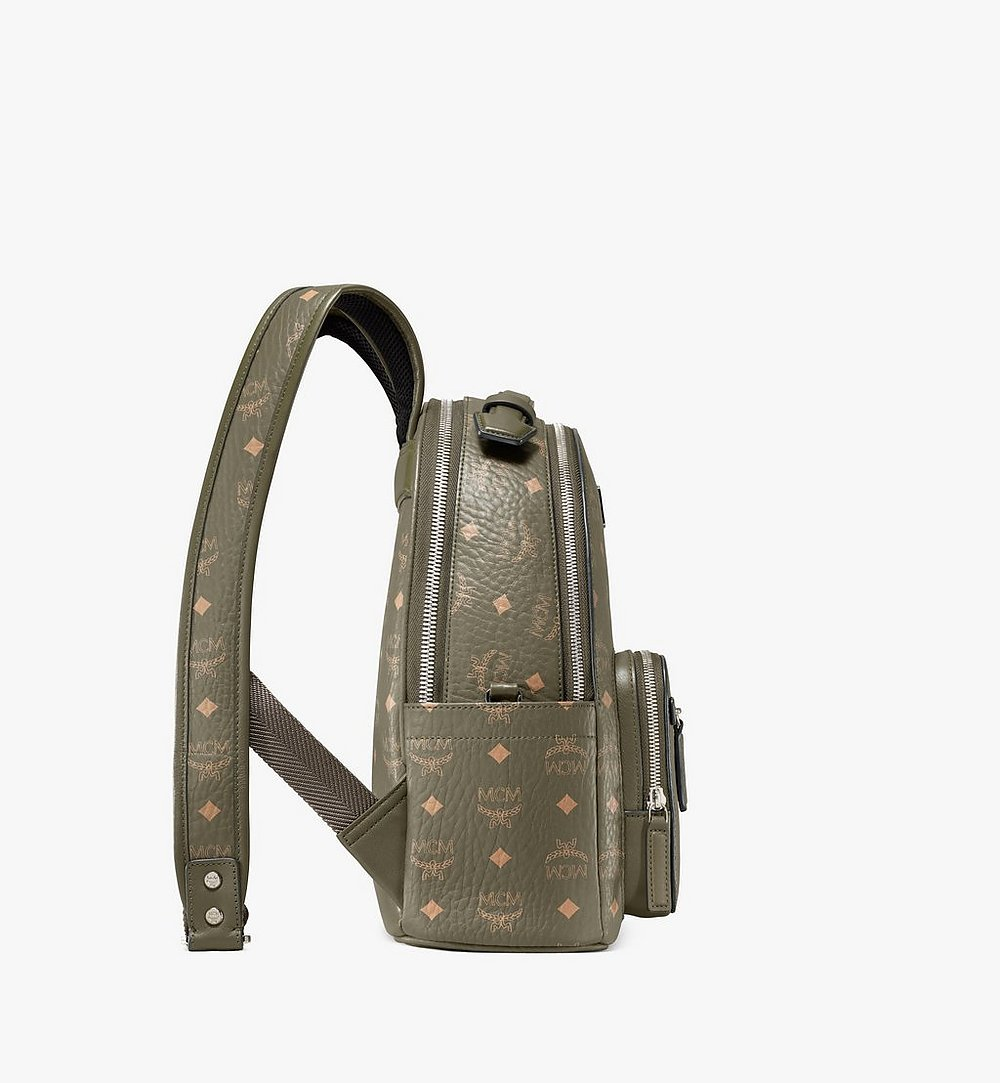 MCM Stark Backpack in Visetos Green MMKAAVE08JH001 Alternate View 1