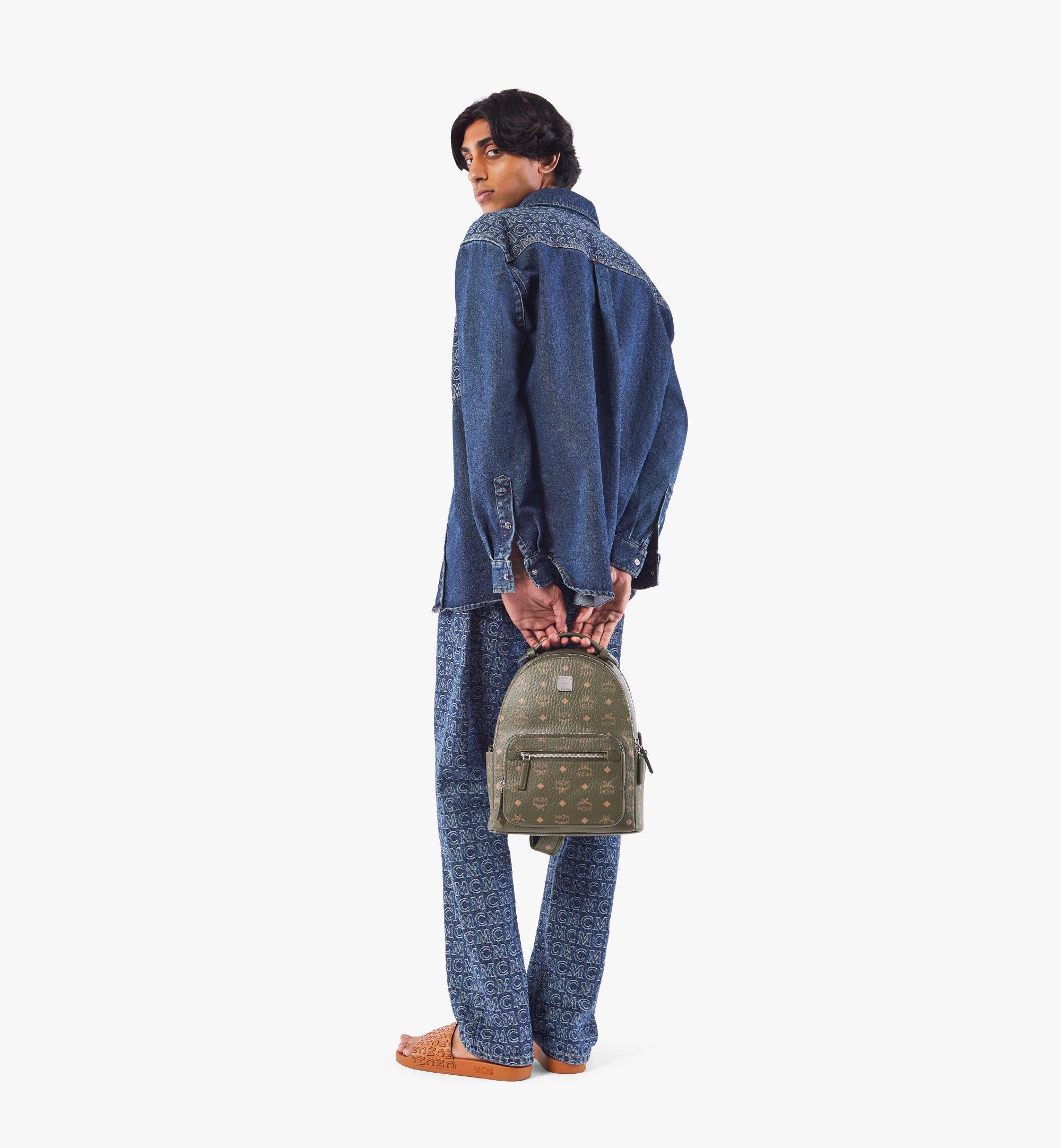 MCM Stark Backpack in Visetos Green MMKAAVE08JH001 Alternate View 4