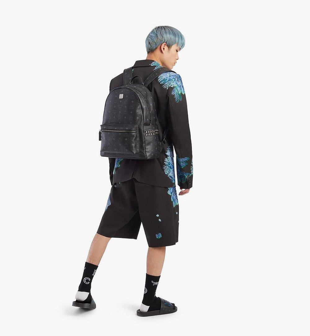 MCM Stark Side Studs Backpack in Visetos Black MMKAAVE09BK001 Alternate View 3