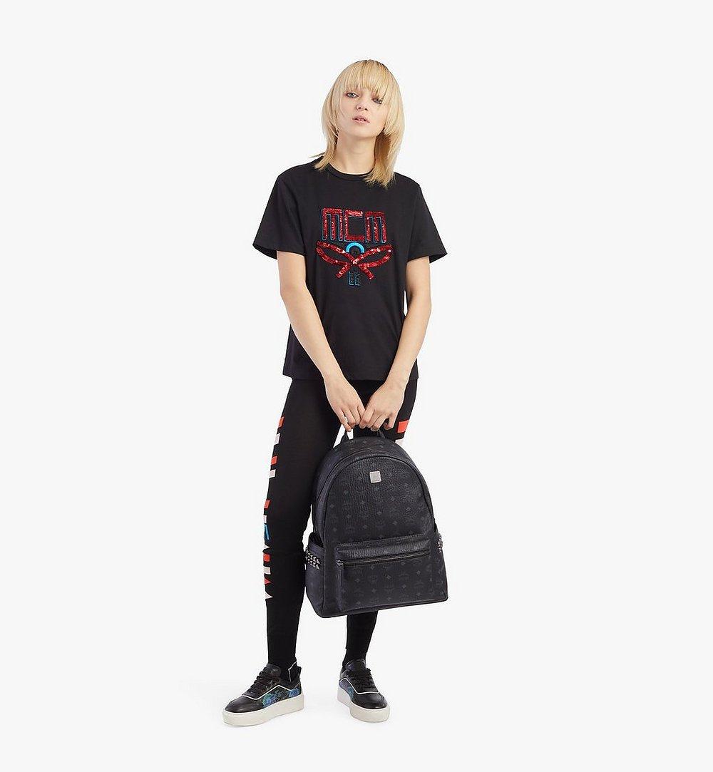 MCM Stark Side Studs Backpack in Visetos Black MMKAAVE09BK001 Alternate View 4
