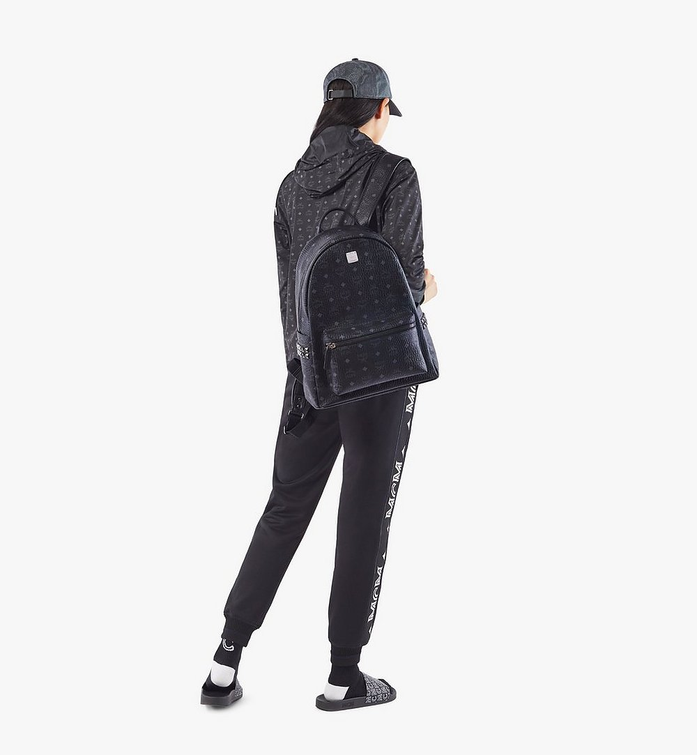 MCM Stark Side Studs Backpack in Visetos Black MMKAAVE09BK001 Alternate View 5