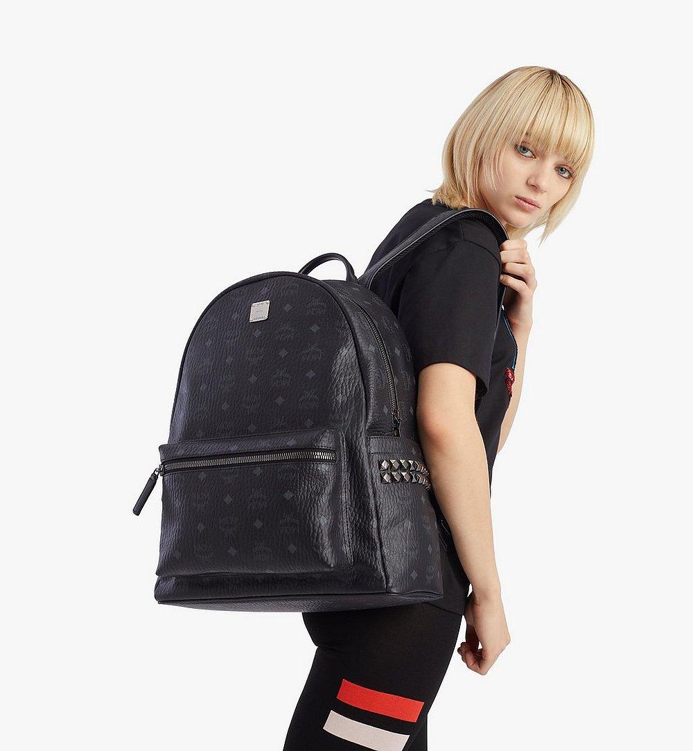 MCM Stark Side Studs Backpack in Visetos Black MMKAAVE09BK001 Alternate View 2