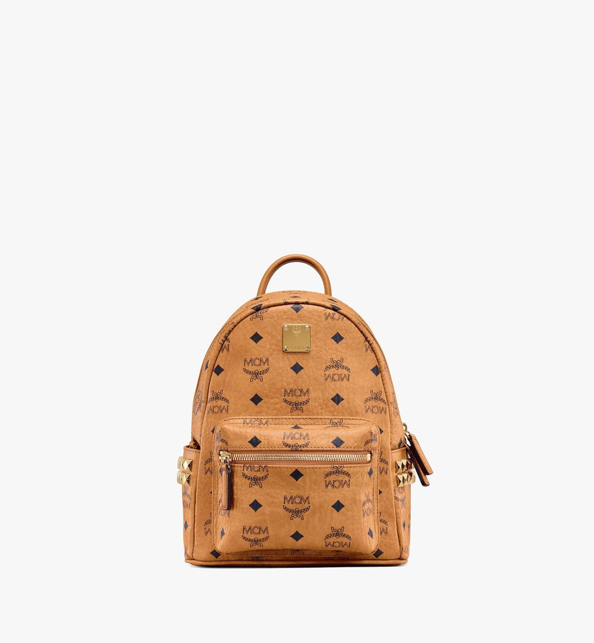 MCM Stark Side Studs Backpack in Visetos Cognac MMKAAVE10CO001 Alternate View 1