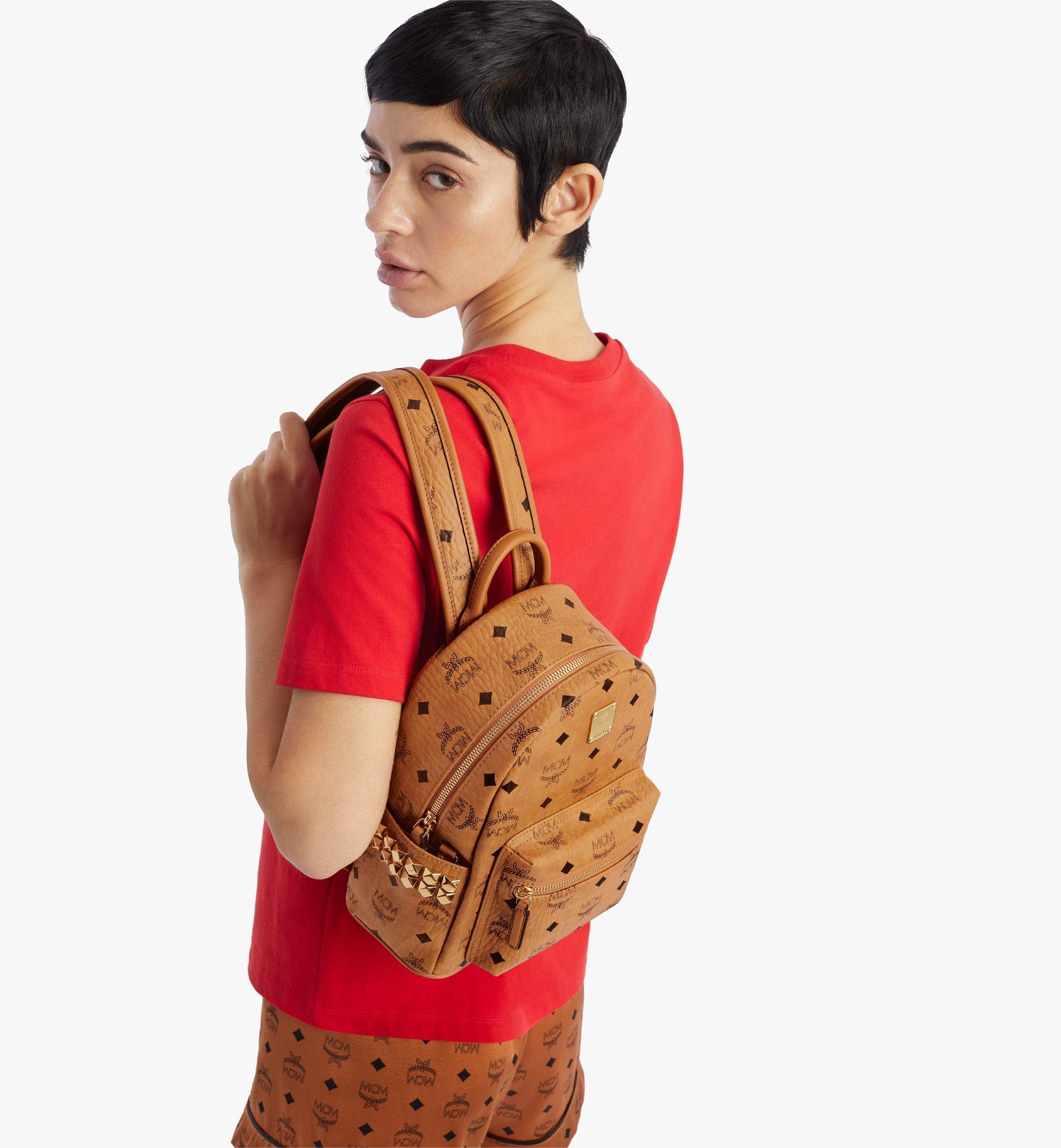 MCM Stark Side Studs Backpack in Visetos Cognac MMKAAVE10CO001 Alternate View 2