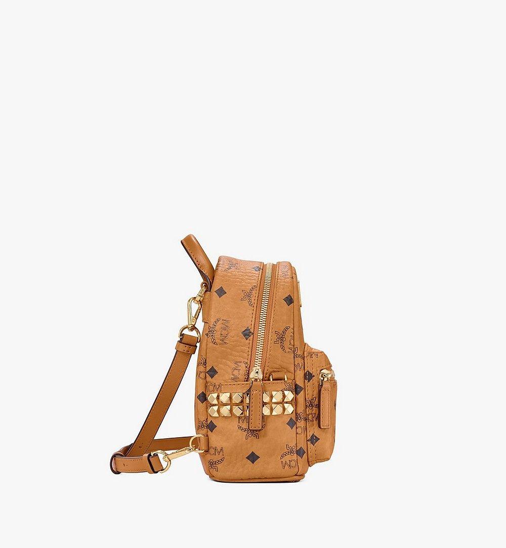 MCM Stark Bebe Boo Side Studs Backpack in Visetos Black MMKAAVE13CO001 Alternate View 1