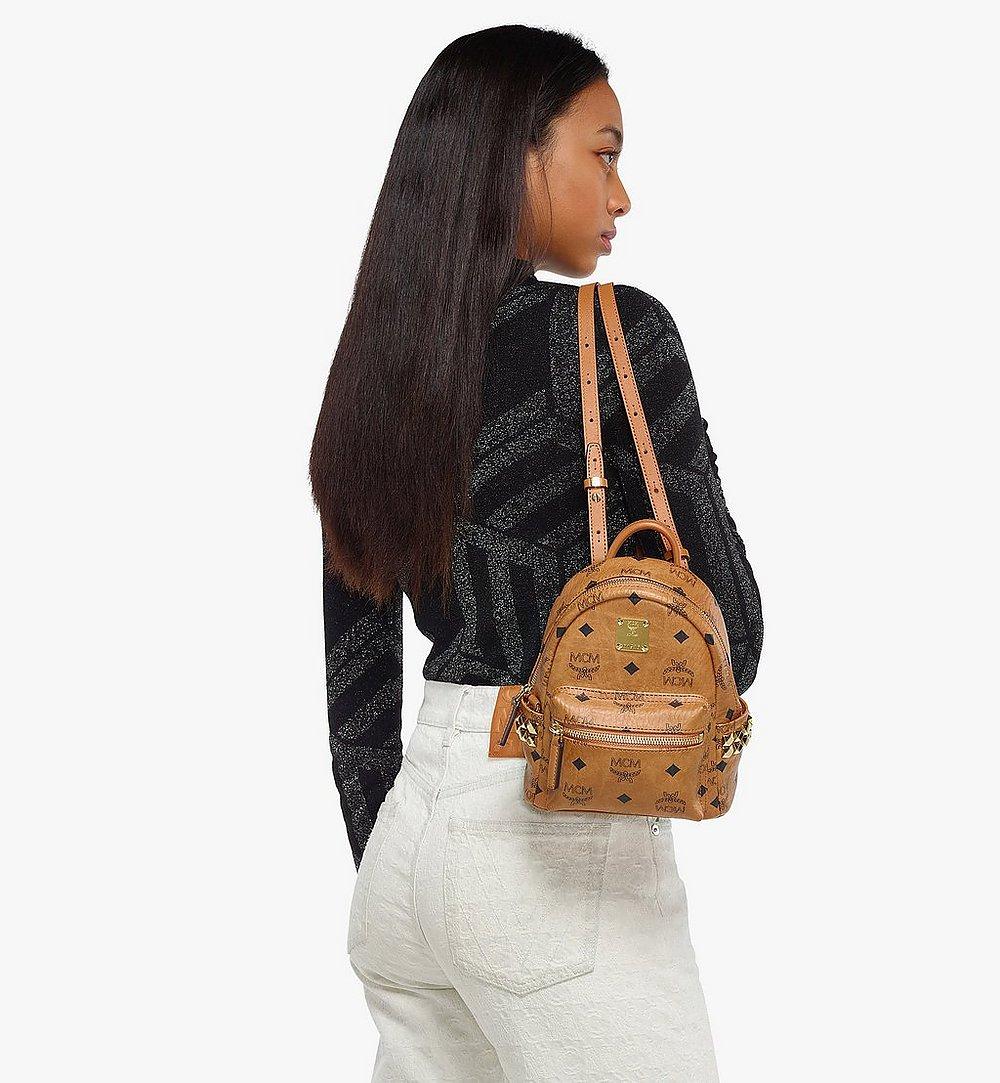 MCM Stark Bebe Boo Side Studs Backpack in Visetos Black MMKAAVE13CO001 Alternate View 3