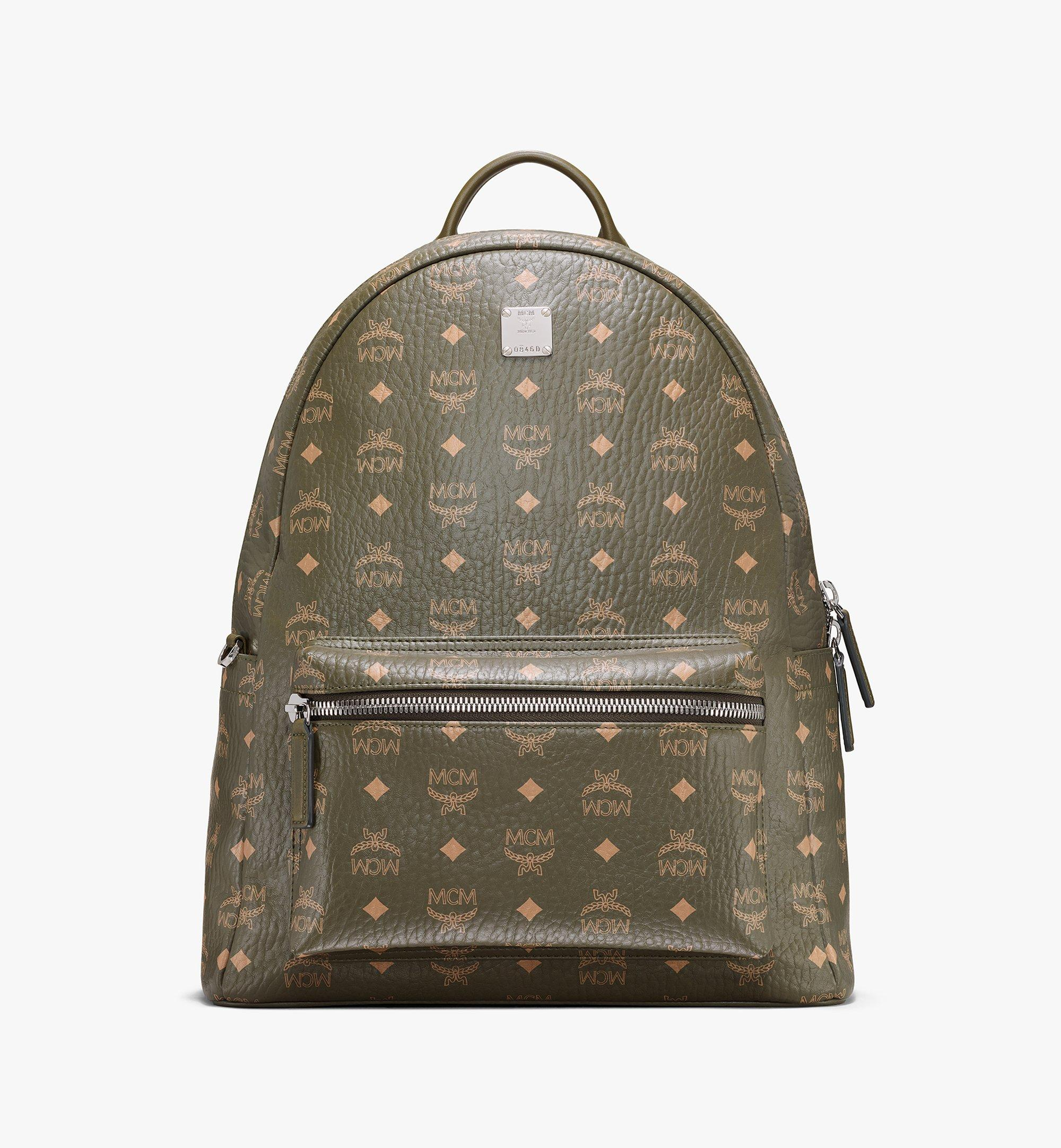 MCM Stark Side Studs Backpack in Visetos Green MMKAAVE16JH001 Alternate View 1